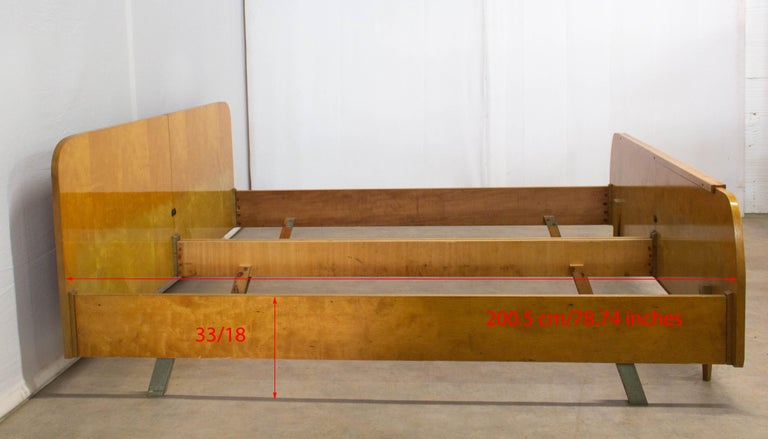 Wood Midcentury Bed US King UK Super King Size Extra Wide German, circa 1970 For Sale