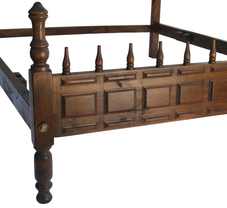 Midcentury Bed US Queen UK King-Size Spanish Portuguese Turned Wood 1
