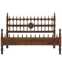 Midcentury Bed US Queen UK King-Size Spanish Portuguese Turned Wood