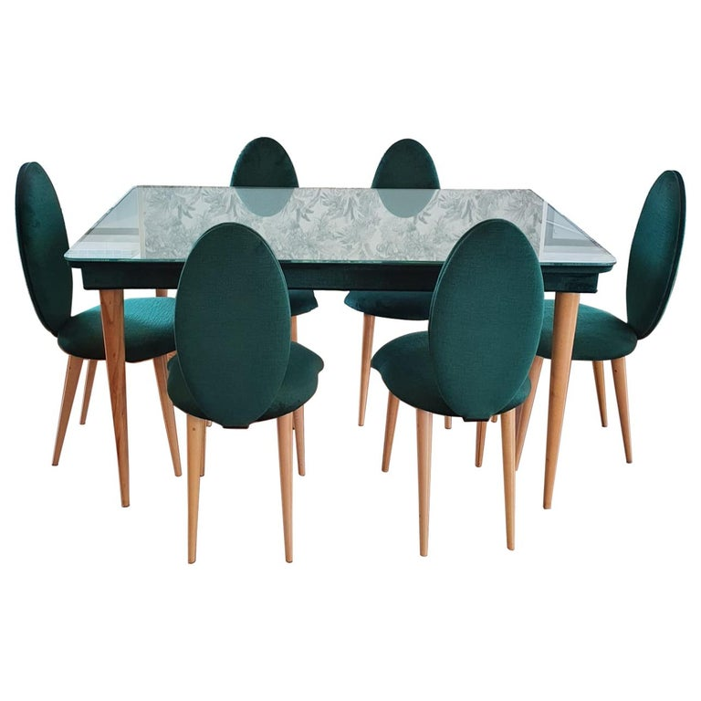 Midcentury Beech Wood and Fabric Dining Table & Six Chairs by Umberto Mascagni For Sale