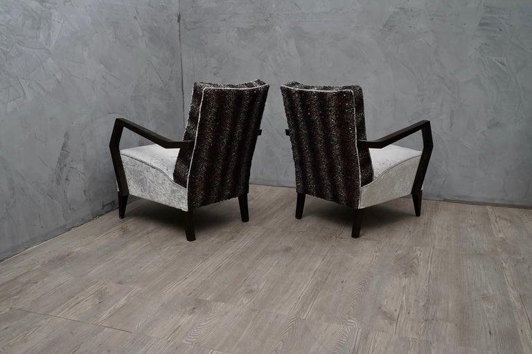 Midcentury Beechwood and Velvet Italian Armchairs, 1950 For Sale 5