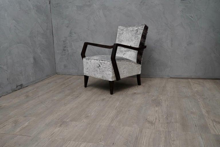 Mid-Century Modern Midcentury Beechwood and Velvet Italian Armchairs, 1950 For Sale