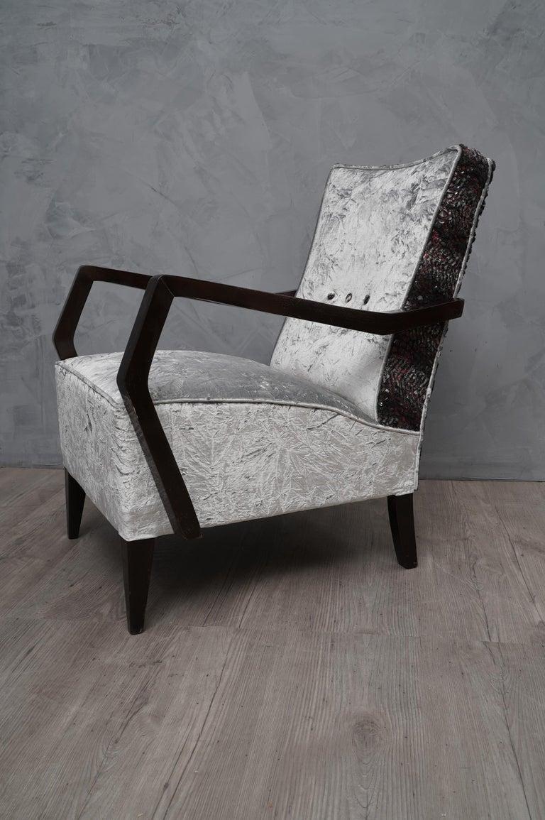 Midcentury Beechwood and Velvet Italian Armchairs, 1950 For Sale 2