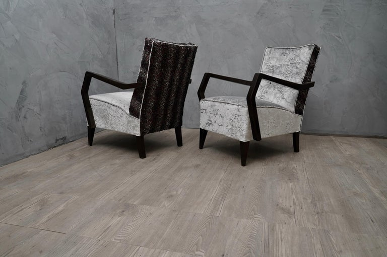 Midcentury Beechwood and Velvet Italian Armchairs, 1950 For Sale 3