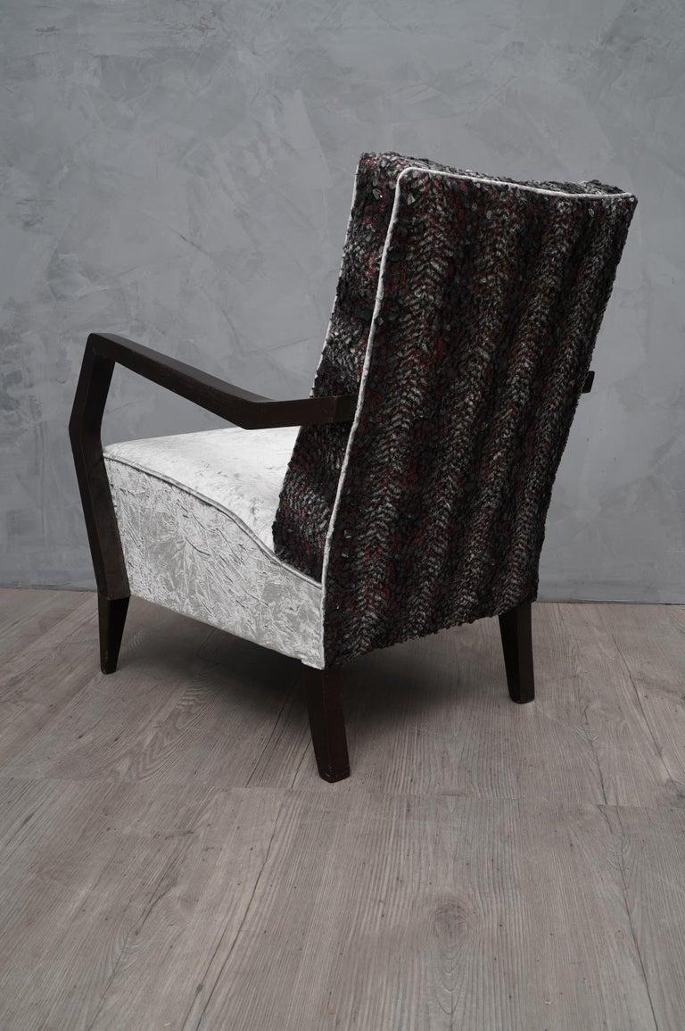 Midcentury Beechwood and Velvet Italian Armchairs, 1950 For Sale 4