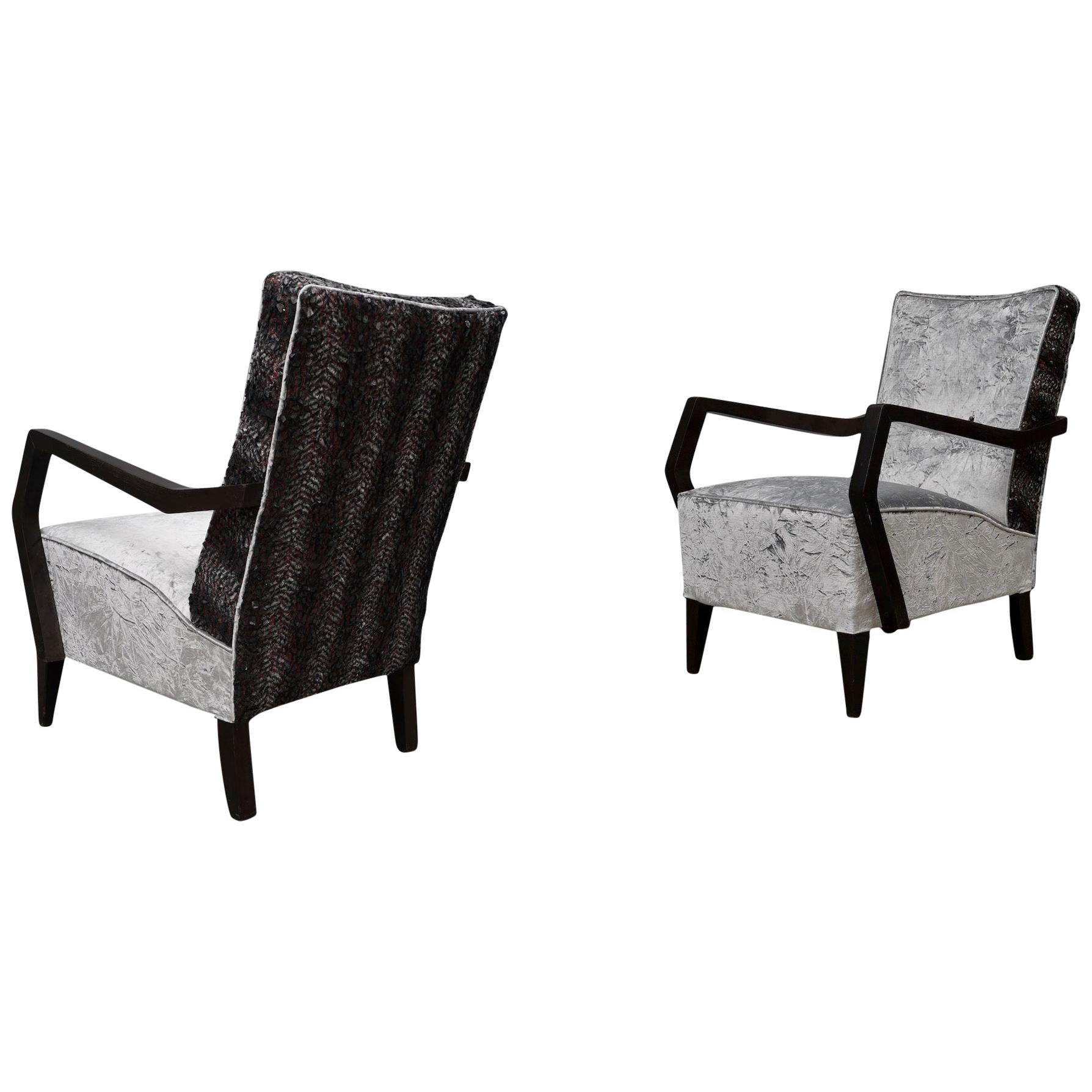 Midcentury Beechwood and Velvet Italian Armchairs, 1950