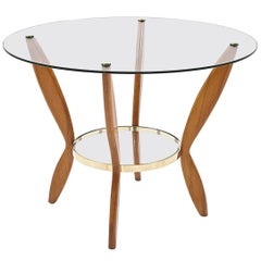 Midcentury Beechwood, Glass and Brass Italian Coffee Table after Gio Ponti 1950s