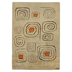 Midcentury Beige, Brown and Orange Art Deco Rug 'Churos' Signed by Olga Fisch