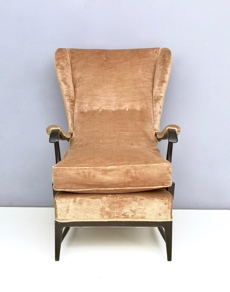 Ebonized Midcentury Beige Velvet Wingback Armchair by Paolo Buffa for Framar, Italy 1950s For Sale