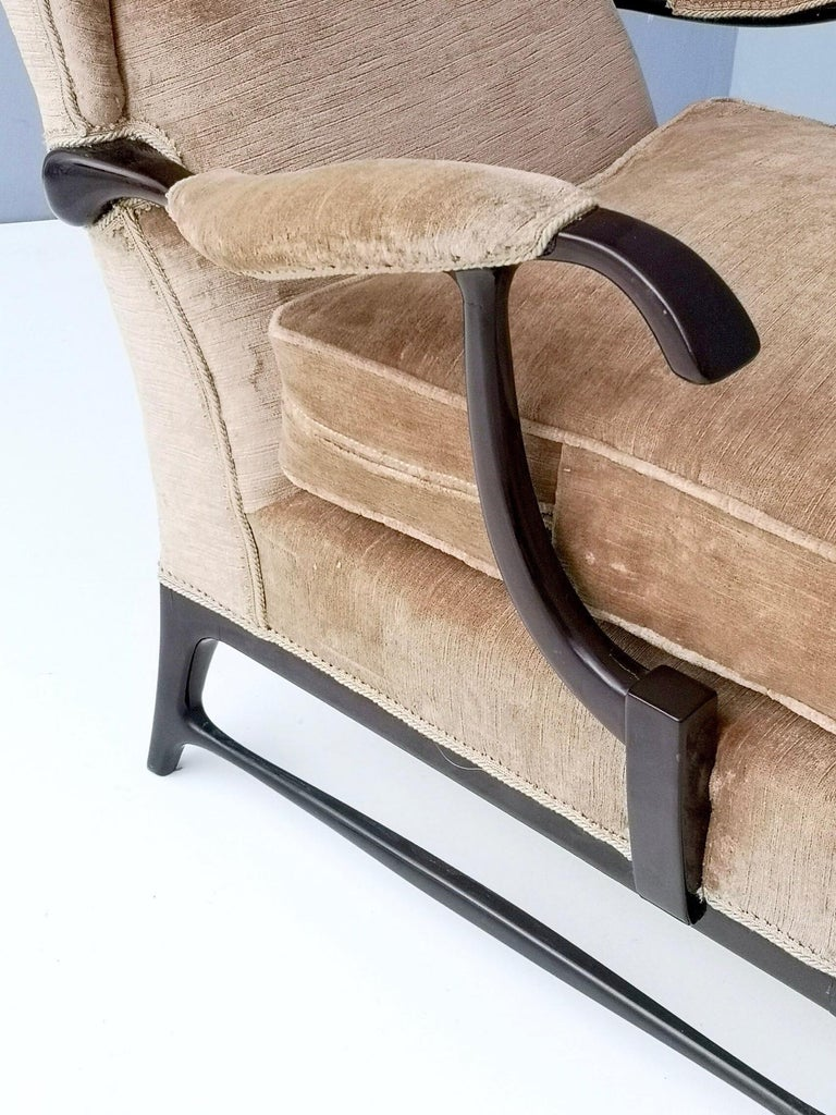 Midcentury Beige Velvet Wingback Armchair by Paolo Buffa for Framar, Italy 1950s For Sale 2