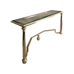 Midcentury Belgian Rectangular Brass Console with Glass Top