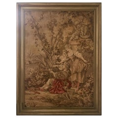 Midcentury Belgium Aubusson Style Framed Tapestry