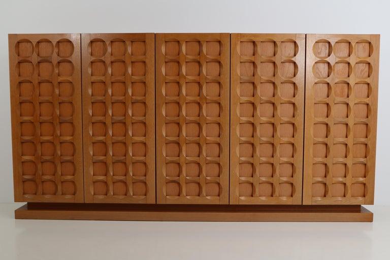Mid-Century Modern Midcentury Belgium Oak Brutalist Credenza ,1970s For Sale