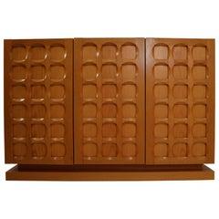 Midcentury Belgium Oak Brutalist Sideboard, 1970s