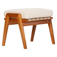 Midcentury Bench Stool Footstool with Alpaca, 1960s