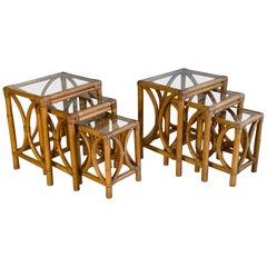 Midcentury Bentwood Rattan Nesting Tables