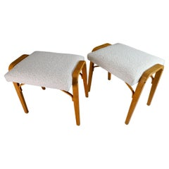 Midcentury Bentwood Stools with New Boucle Fabric by Ludvik Volak 1960s