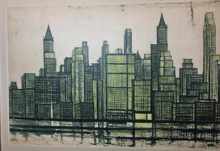 Bernard Buffet New York Skyline Limited Edition Drypoint Print For Sale 3