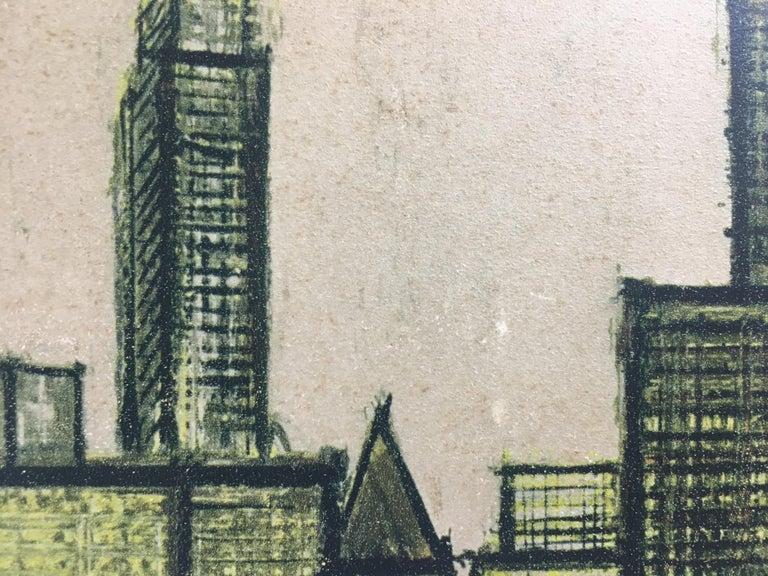 Bernard Buffet New York Skyline Limited Edition Drypoint Print For Sale 4