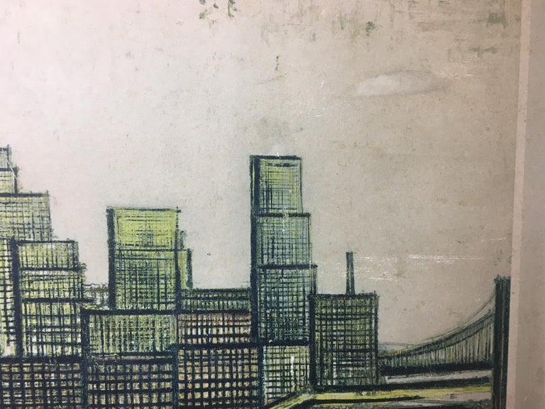 Bernard Buffet New York Skyline Limited Edition Drypoint Print For Sale 5