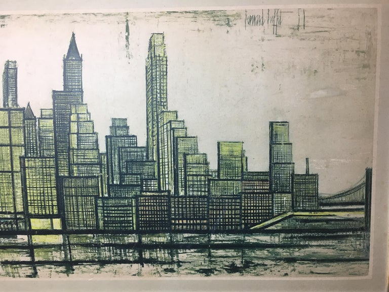 Mid-Century Modern Bernard Buffet New York Skyline Limited Edition Drypoint Print For Sale