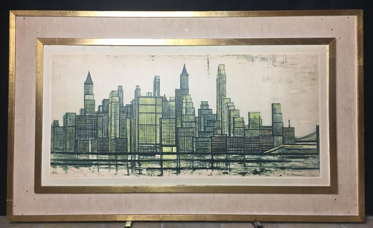 French Bernard Buffet New York Skyline Limited Edition Drypoint Print For Sale