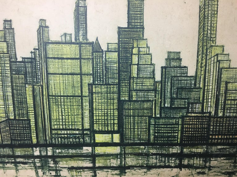 Etched Bernard Buffet New York Skyline Limited Edition Drypoint Print For Sale