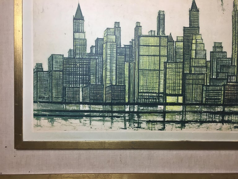 Bernard Buffet New York Skyline Limited Edition Drypoint Print In Good Condition For Sale In Arles, FR