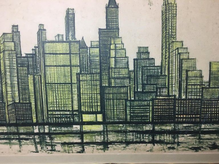 Paper Bernard Buffet New York Skyline Limited Edition Drypoint Print For Sale