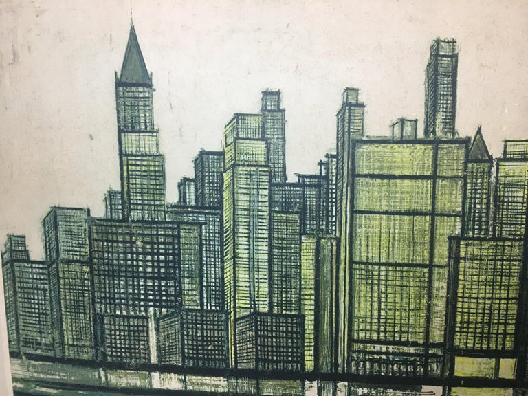 Bernard Buffet New York Skyline Limited Edition Drypoint Print For Sale 1