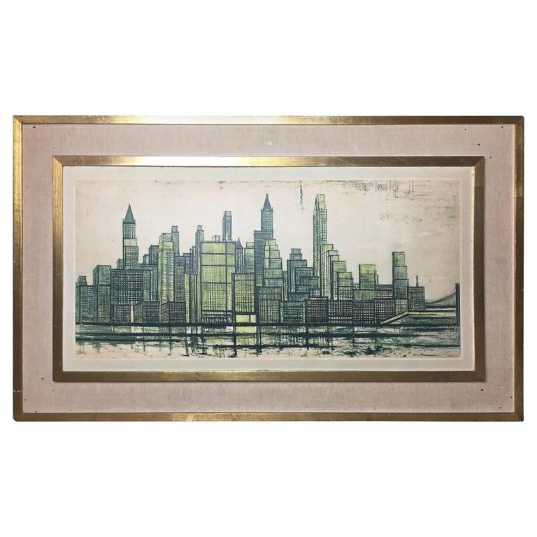 Bernard Buffet New York Skyline Limited Edition Drypoint Print For Sale