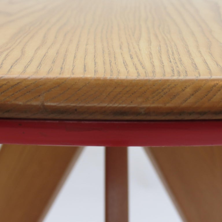 Midcentury Bespoke Circular Ash Dining Table by David Field 1980s with Red Blue 6