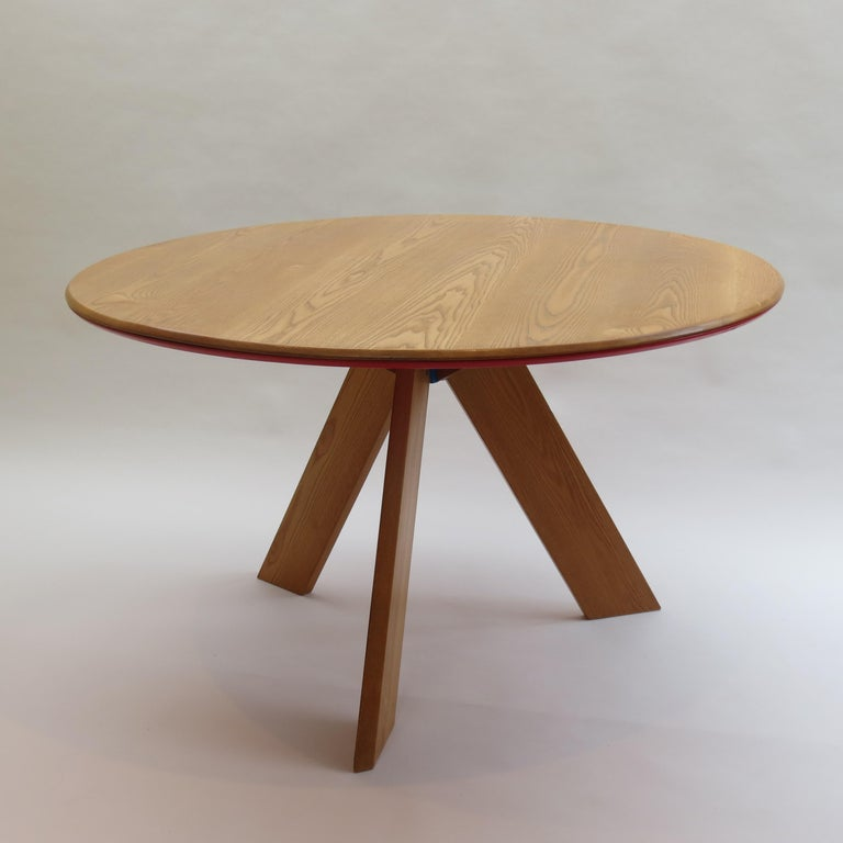 Midcentury Bespoke Circular Ash Dining Table by David Field 1980s with Red Blue 8