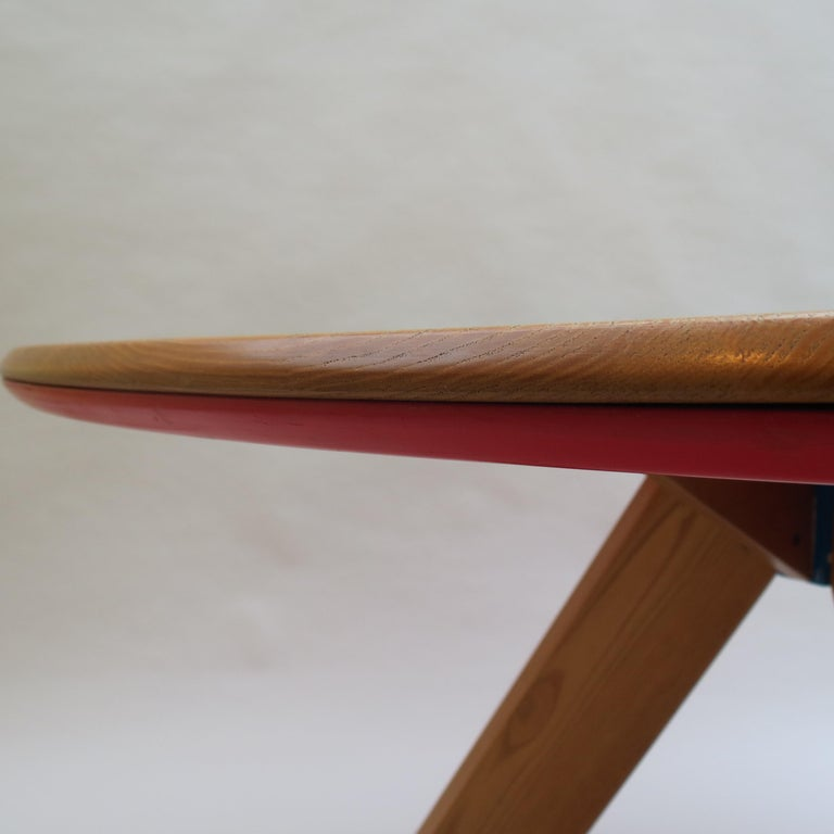 Midcentury Bespoke Circular Ash Dining Table by David Field 1980s with Red Blue 2