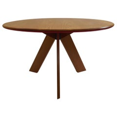 Midcentury Bespoke Circular Ash Dining Table by David Field 1980s with Red Blue