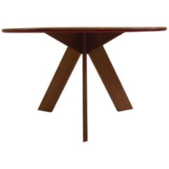 Midcentury Bespoke Round Dining Table by David Field 1980s with Red and Blue Det