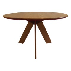 Midcentury Bespoke Round Dining Table by David Field 1980s with Red Blue Detail