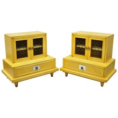 Midcentury Bethlehem Furniture Step Down Blonde Mahogany Nightstands, a Pair
