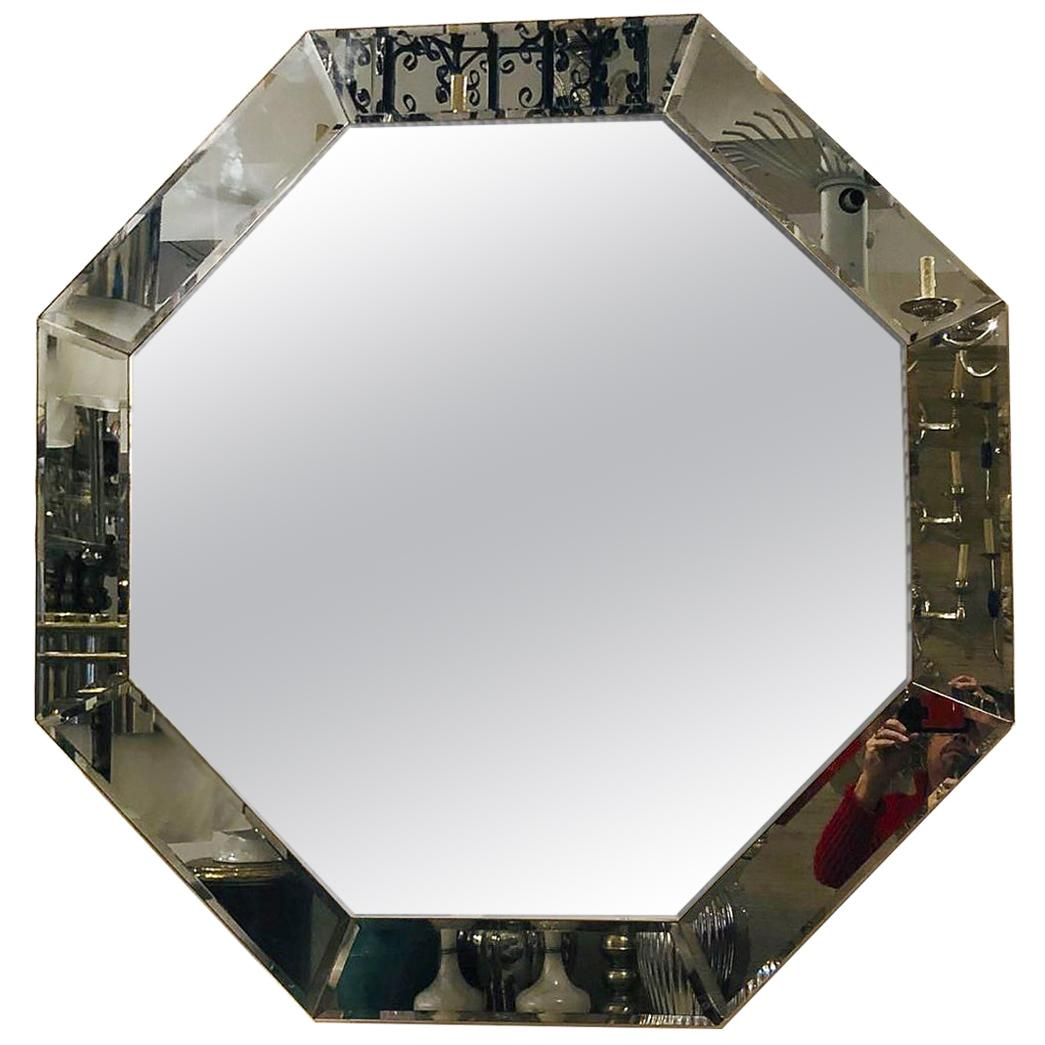 Midcentury Beveled Octagonal Mirror