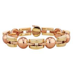 Midcentury Bi-Color Geometric Link Bracelet