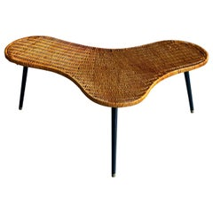 Midcentury Biomorphic Cocktail Table in Wicker and Iron, France, circa 1950's