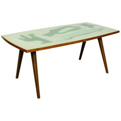 Midcentury Birch Table with Formica Top, 1950s