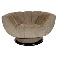 Midcentury Biscuit Tufted Swivel Chair in Smoked Sage Fabric by Adrian Pearsall