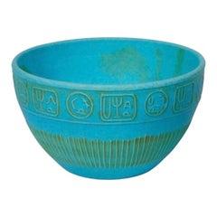 Midcentury Bitossi Blue Ceramic Bowl