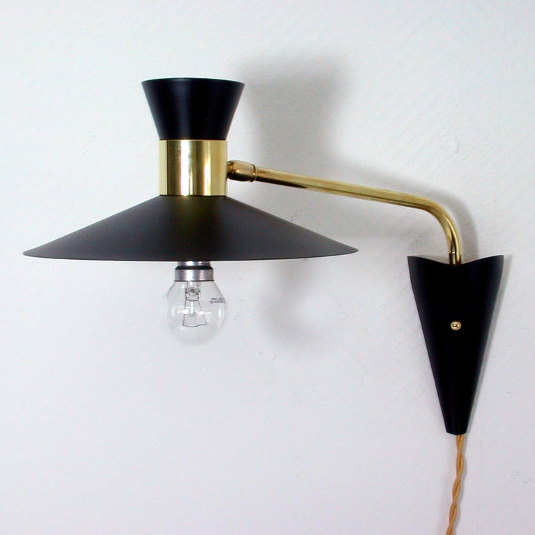 sale retailer 386de f3a84 Midcentury Black and Brass Pierre Guariche Style Articulating Wall Light  Sconce