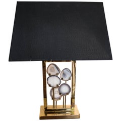 Midcentury Black and Gold Willy Daro Table Lamp, Belgium, circa 1970