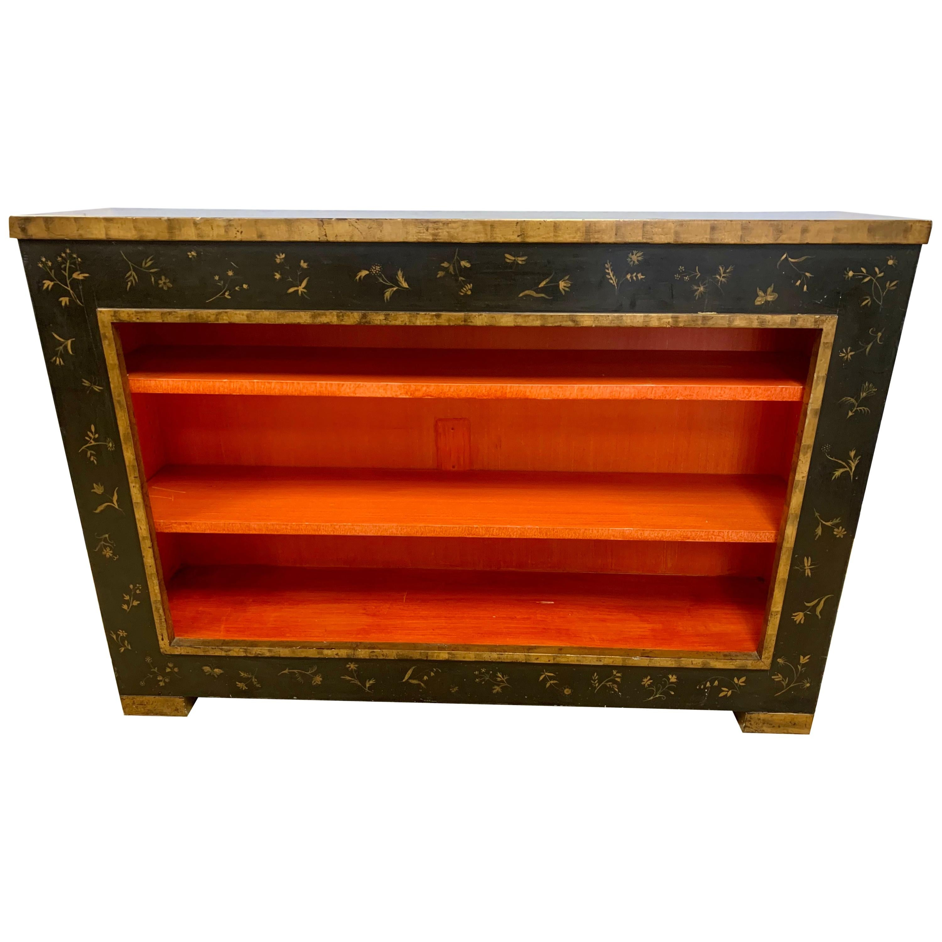 Midcentury Black and Gold with Hermès Orange Interior Chinoiserie Cabinet