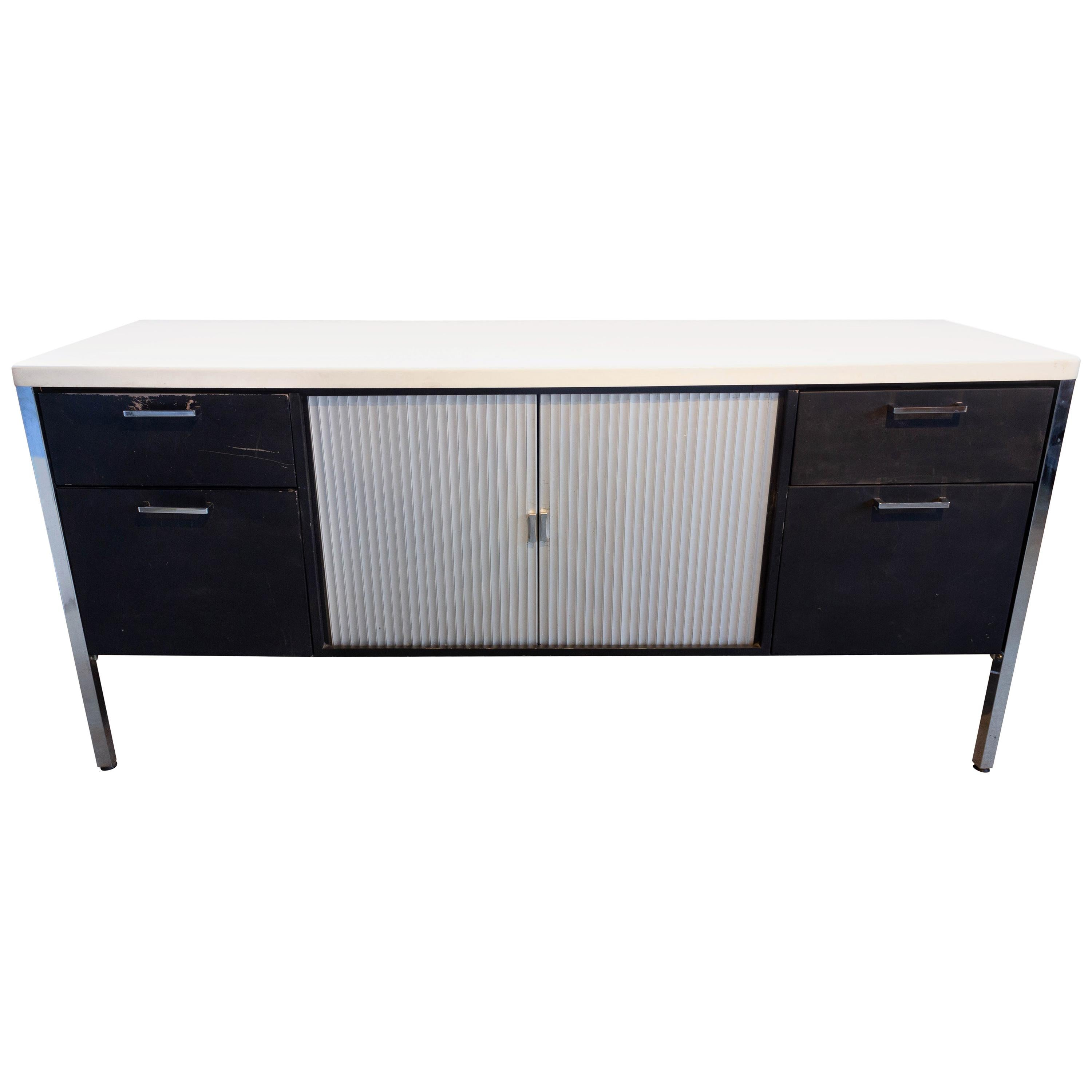 Midcentury Black and White Low Credenza by Knoll, circa 1960