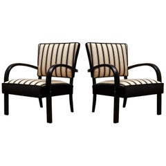 Midcentury Black and White Striped Fabric Italian Armchairs, 1950