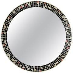 Midcentury Black and White Tile Mosaic Round Mirror, Spain, 1960s